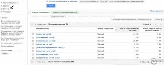 Подбор ключевых слов - Google, Яндекс, Рамблер